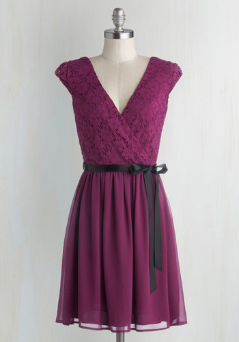 Champagne at Midnight Dress in Fuchsia - Mid-length, Chiffon, Knit, Woven, Purple, Solid, Lace, Belted, Party, A-line, Cap Sleeves, Good, V Neck, Prom, Wedding, Bridesmaid, Lace
