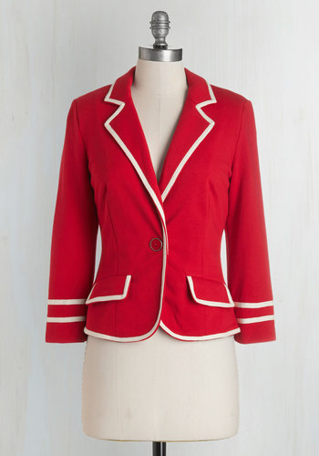 Academia Ahoy Blazer in Red - Red, Long Sleeve, Cotton, Knit, Short, Red, Solid, Trim, Work, Scholastic/Collegiate, Americana, Long Sleeve, Spring, Summer, Better, Collared, Best Seller, White, Pockets, Nautical, Variation, 1, Halloween
