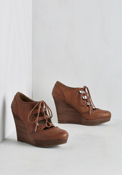 Stacked in Your Favor Wedge in Chestnut