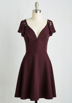 Festive Flutter Dress in Bordeaux