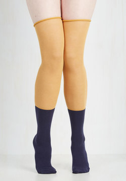 Tone of Choice Thigh Highs in Goldenrod and Navy