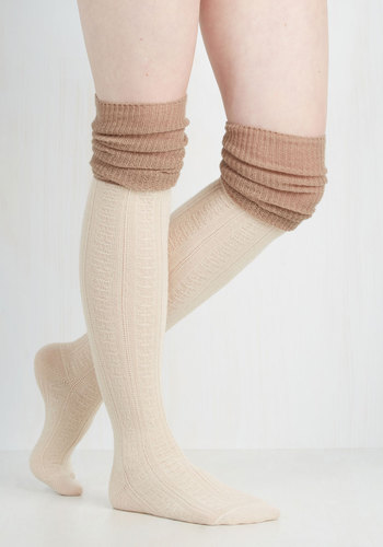 KnittinGÇÖ Pretty Thigh Highs in Ivory and Taupe