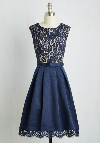 Lovely in Lyons A-Line Dress - Blue, Solid, Lace, Belted, Party, A-line, Cap Sleeves, Woven, Best, Scallops, Wedding, Cocktail, Bridesmaid, Long, Fit & Flare, Vintage Inspired, Lace, Saturated