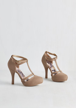 Snappy and Strappy Heel in Taupe
