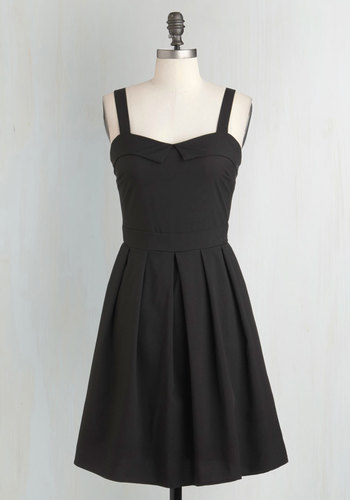 Breakfast Special Dress - Black, Solid, Pleats, Fit & Flare, Spaghetti Straps, Sweetheart, Pinup, Casual, LBD, Top Rated, Mid-length