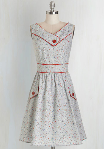 Places to Go, People to See Dress in Floral - Multi, Floral, Buttons, Pockets, Trim, Casual, Sundress, Vintage Inspired, Americana, A-line, Sleeveless, Woven, Better, V Neck, Cotton, Grey, 50s, 60s, Variation, Top Rated, Full-Size Run, Mid-length