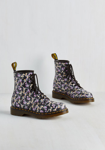 Flower Ballad Boot by Dr. Martens - Floral, Casual, Urban, Multi, Pink, Black, 90s, Steampunk, Lace Up, Low