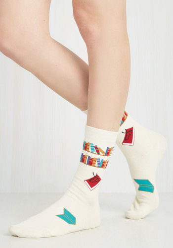 I've Tread Them All Socks - White, Multi, Casual, Scholastic/Collegiate, Quirky, Top Rated
