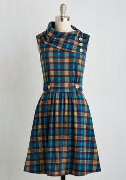 Coach Tour Dress in Teal Plaid