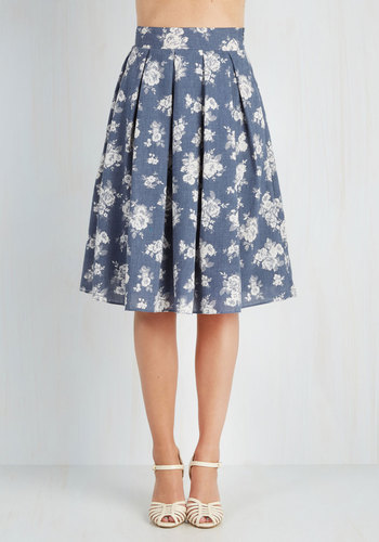 Tea Date Skirt - Blue, Floral, Casual, Daytime Party, 50s, Better, Blue, Long, White, Vintage Inspired, Spring, Summer, Top Rated