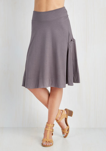 At the Racquet of Dawn Skirt in Stone - A-line, Good, Grey, Jersey, Knit, Grey, Solid, Pockets, Casual, Variation, Mid-length