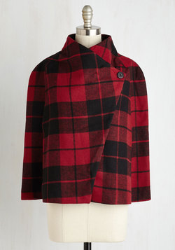 Talk of the Uptown Cape in Ruby Plaid