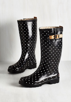 Puddle Jumper Rain Boot in Black Dots