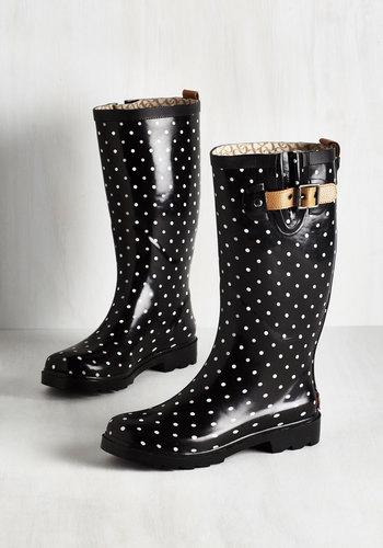 Puddle Jumper Rain Boot in Black Dots $69.99 AT vintagedancer.com
