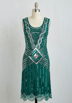 Cabaret Soiree Dress in Emerald