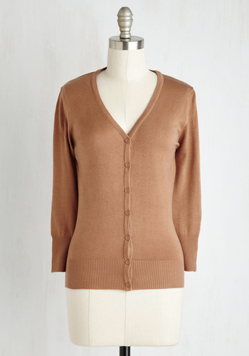 Charter School Cardigan in Camel - Brown, Tan, Solid, Work, Casual, 3/4 Sleeve, Fall, Scholastic/Collegiate, Best Seller, Button Down, Minimal, V Neck, Variation, Pinup, Basic, Folk Art, Brown, 3/4 Sleeve, Knit, Good, 4th of July Sale, As You Wish Sale, Top Rated, Mid-length