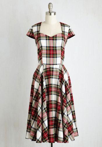 Deans List Diva Dress in Cardinal Plaid $94.99 AT vintagedancer.com