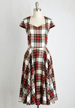 Dean's List Diva Dress in Cardinal Plaid
