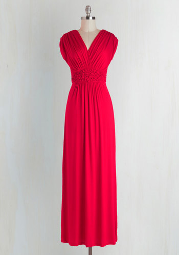 Arrange a Date Dress - Long, Jersey, Red, Solid, Ruching, Casual, Empire, Maxi, Cap Sleeves, V Neck, Fall, Maternity, Summer