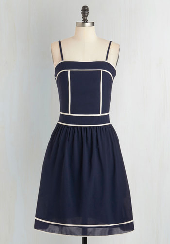 Outline and About Dress - Mid-length, Blue, White, Solid, Pockets, Trim, Casual, A-line, Spaghetti Straps, Nautical, Summer, Sundress