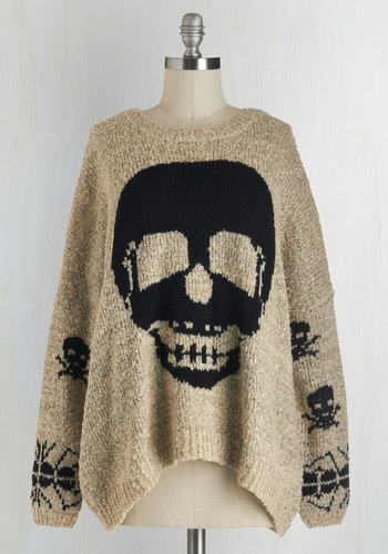 About Face Sweater - Tan, Black, Knitted, Casual, Steampunk, Long Sleeve, Novelty Print, Travel, Halloween, White, Long Sleeve, Skulls, Knit, Top Rated