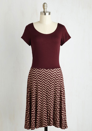 Cheers to Casual Dress in Burgundy Chevron
