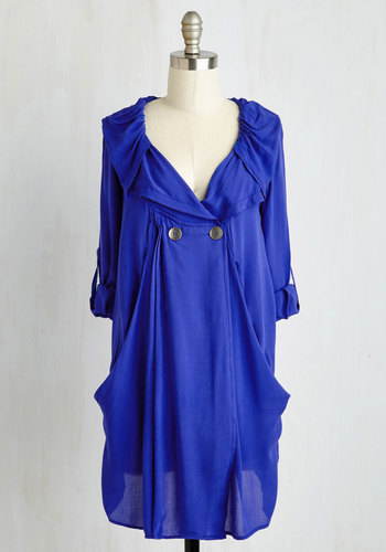 Busy Week Tunic in Blue - Long, Casual, Blue, Solid, Buttons, Pockets, Long Sleeve, 3/4 Sleeve, Best Seller, Blue, Tab Sleeve, Maternity, Good, 4th of July Sale