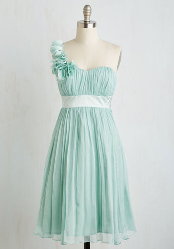 Pictures by the Pond Dress - Mint, Solid, Prom, Wedding, Party, Bridesmaid, Mid-length, Chiffon, Woven, Pastel, Flower, Ruching, One Shoulder, Spring
