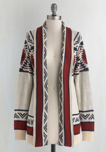 Red Rock Canyon Cardigan in Rust - Knit, Cream, Red, Print, Long Sleeve, Better, Casual, Folk Art, Multi, Long Sleeve, Fall, Long