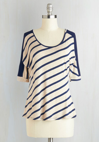 Easygoing Encounter Top - Mid-length, Jersey, Knit, Tan / Cream, Stripes, 3/4 Sleeve, Good, Scoop, Blue, Casual, Multi, White, 3/4 Sleeve