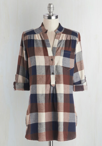 Bonfire Stories Tunic in Brown Plaid - Long, Cotton, Woven, Brown, Blue, Tan / Cream, Checkered / Gingham, Buttons, Pockets, Casual, Menswear Inspired, Rustic, 3/4 Sleeve, Fall, Variation, Brown, Tab Sleeve