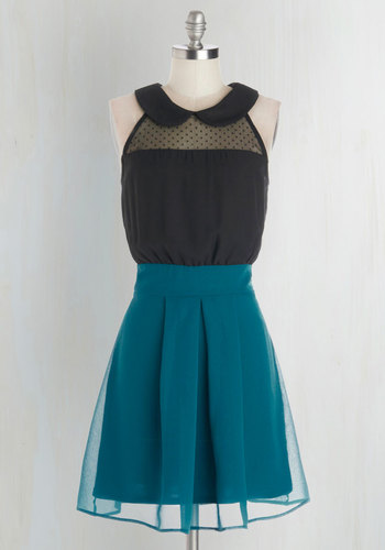 How Do You Deux? Dress - Chiffon, Sheer, Woven, Mid-length, Blue, Black, Peter Pan Collar, Pleats, Party, A-line, Sleeveless, Better, Collared