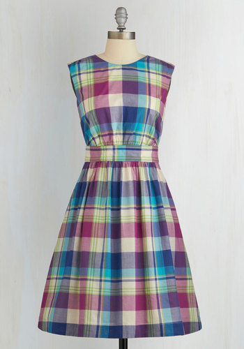 Too Much Fun Dress in Bright Plaid by Emily and Fin - International Designer, Multi, Plaid, Variation, Casual, Sundress, Sleeveless, Woven, Better, Scoop, Cotton, Pockets, Mid-length, Fit & Flare, Exclusives