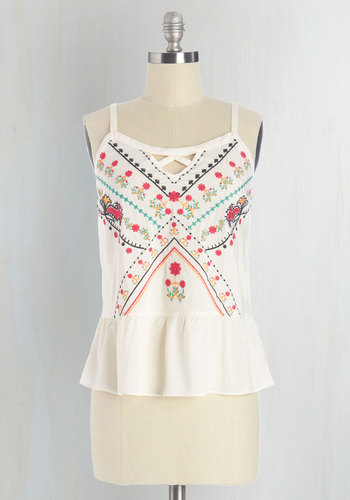 The Wind Cries Prairie Top - Mid-length, Woven, White, Embroidery, Beach/Resort, Vintage Inspired, 70s, Festival, Spaghetti Straps, Spring, Summer, White, Sleeveless, Peplum, Boho, Multi, Good