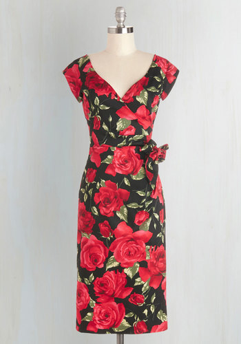 Slice of Layer Cake Dress in Crimson - Red, Black, Floral, Special Occasion, Party, Shift, Sleeveless, Woven, Better, V Neck, Vintage Inspired, 50s, Cocktail, Valentine's, Long
