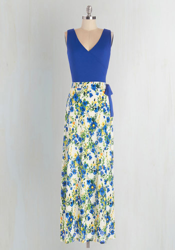 Garden Blueprints Dress - Multi, Floral, Casual, Maxi, Sleeveless, Summer, Knit, Good, V Neck, Long, Blue