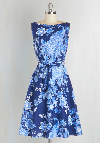 Alluring Acres Dress in Peacock - Floral, Print with Animals, Belted, Daytime Party, A-line, Sleeveless, Woven, Blue, Variation, Boat, Bird, Long