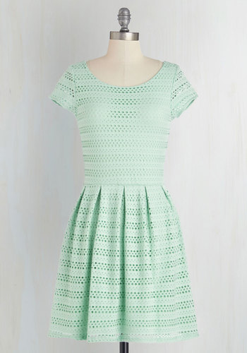 Step into the Pastel Dress in Mint - Mint, Solid, Eyelet, Pleats, Casual, A-line, Cap Sleeves, Summer, Better, Scoop, Short, Cotton, Knit