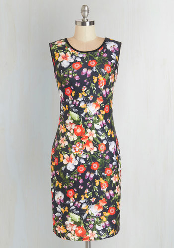 Active Illustrations Dress - Multi, Floral, Sleeveless, Knit, Good, Work, Exclusives, Scoop, Fall, Mid-length, Sheath