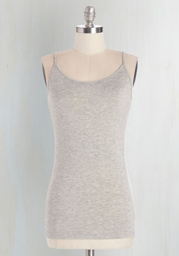 A Layer to Love Top in Smoke - Mid-length, Jersey, Knit, Grey, Solid, Casual, Spaghetti Straps, Summer, Variation, Basic, Grey, Sleeveless, Good