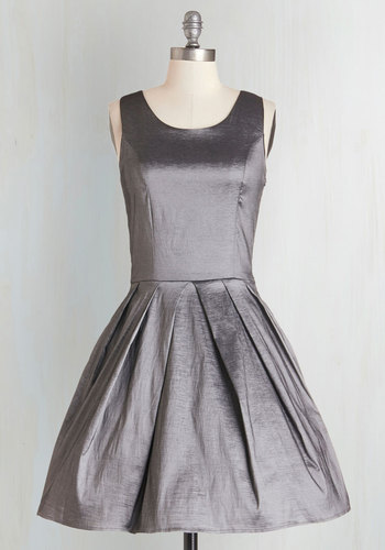 Meant to Bijou Dress in Pewter - Mid-length, Woven, Silver, Solid, Bows, Cutout, Pockets, Special Occasion, Party, Fit & Flare, Variation, Prom, Wedding, Bridesmaid, Homecoming