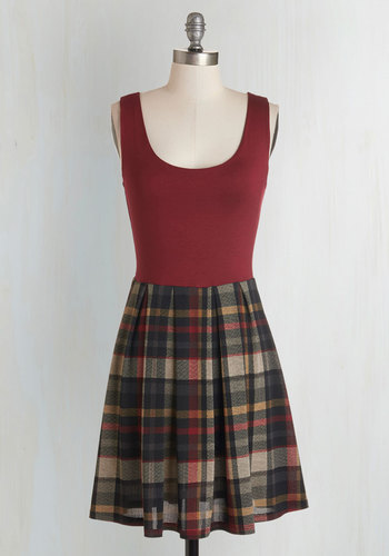 Shorthand and Sweet Dress - Plaid, Casual, Nifty Nerd, A-line, Sleeveless, Fall, Knit, Good, Scoop, Multi, Red, Scholastic/Collegiate