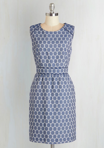 Boardroom and Beyond Dress - Mid-length, Woven, Blue, White, Print, Work, Daytime Party, Sheath, Polka Dots, Pockets