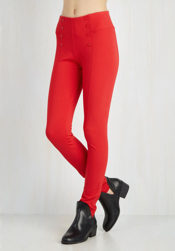 Sail into the Future Pants in Red - Red, Solid, Buttons, Nautical, Skinny, Casual, High Waist, Summer