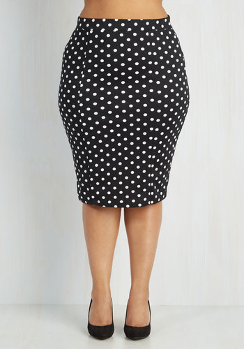Style Essential Skirt in Dots - 1X-3X - Work, Black, Polka Dots, Rockabilly, Pinup, Pencil, High Waist, Knit, Good, Black, Plus, White, Variation, Top Rated, Valentine's