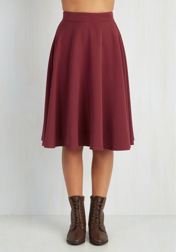 Bugle Joy Skirt in Burgundy - Knit, Red, Solid, Work, A-line, High Waist, Fall, 50s, Better, Red, Exclusives, Long, Holiday Party