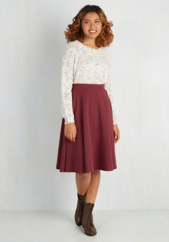 Bugle Joy Skirt in Burgundy - Knit, Red, Solid, Work, A-line, High Waist, Fall, 50s, Better, Red, Exclusives, Long, Holiday Party, Valentine's