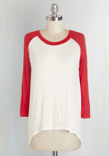 All Night Blogathon Top in Red - Red, 3/4 Sleeve, Jersey, Sheer, Knit, Red, White, Casual, 3/4 Sleeve, Variation, Scoop