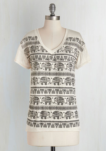 Feeling Elephant-astic Tee - Mid-length, Knit, Tan / Cream, Black, Print with Animals, Casual, Safari, Short Sleeves, V Neck