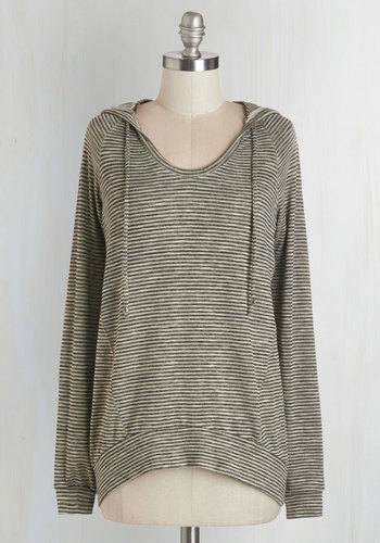Started in the Autumn Top - Mid-length, Knit, Grey, Tan / Cream, Stripes, Casual, Hoodie, Long Sleeve, Fall, Winter, Grey, Long Sleeve